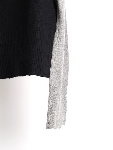 カシミアリメイクパッチワークセーターブラック袖裾2