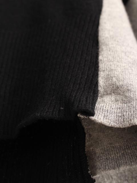 カシミアリメイクパッチワークセーターブラック素材感