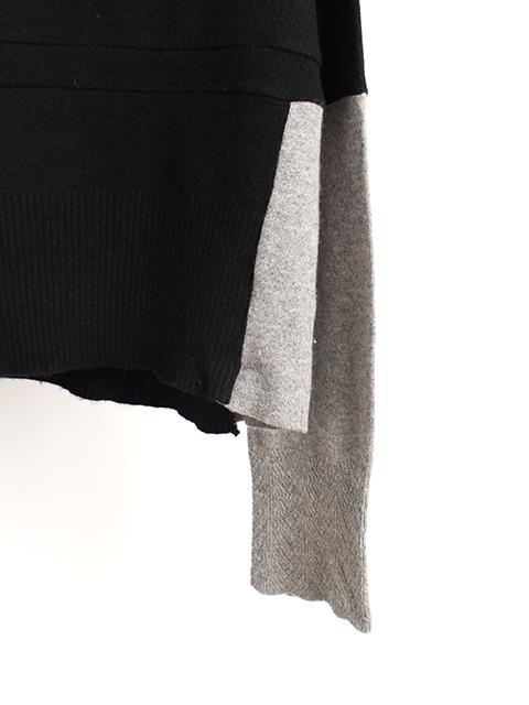 カシミアリメイクパッチワークセーターブラック袖裾