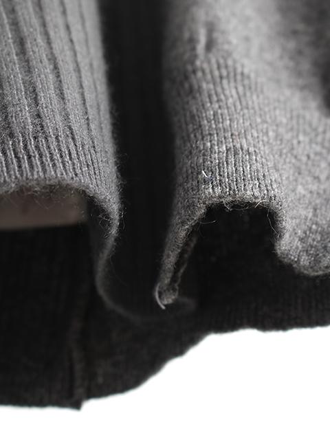 カシミアリメイクパッチワークセーターグレー素材感