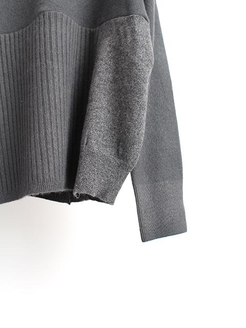 カシミアリメイクパッチワークセーターグレー袖裾