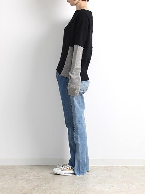 カシミアリメイクパッチワークセーターブラック着画横