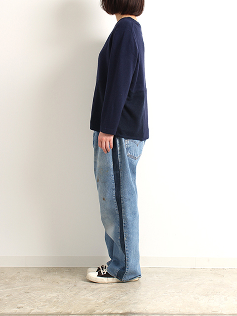 リメイクサイドラインデニムパンツブルーサイズ2