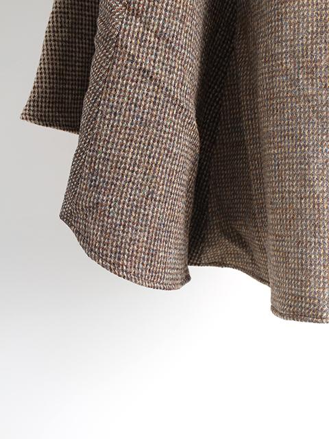 ツイードリメイクポンチョブラウン裾