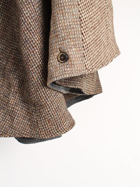 ツイードリメイクポンチョブラウン袖裾